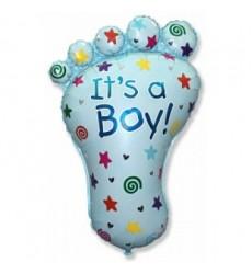 Воздушный шар в виде детской ножки «С рождением мальчика»