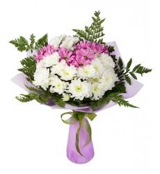 Букет из 7 кустовых хризантем «Акварельные грёзы»