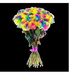 Букет из 35 радужных роз «Цветной круговорот»