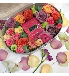 Подарочная коробка с туалетной водой Jimmy Choo Blossom и розами «Ароматное вдохновение»