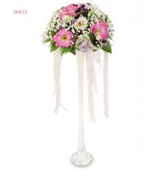 Цветочная композиция из 2 эустом, кустовой хризантемы и гипсофилы «Хрустальный фонтан»