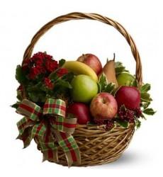 Фруктовая корзина с 3 видами яблок, грушами, бананами и каланхоэ в горшке «Чунга-Чанга»