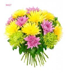 Букет из 12 одиночных хризантем и 5 хризантем шамрок «Счастливый путь»