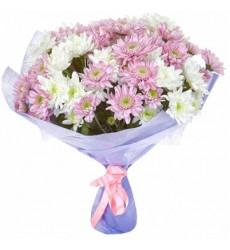 Букет из 21 хризантемы «Цветочная идиллия»
