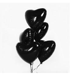 Набор из 5 черных шаров 18/46 см в форме сердца  «Шарм»