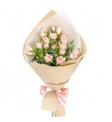 Букет из 5 розовых кустовых роз «Седьмое чувство»