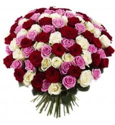 Букет из 101 разноцветной розы «Объятия ангела»