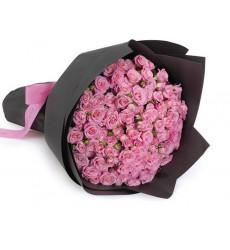 Букет из 19 кустовых розовых роз  «Розовый щербет»