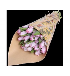 Букет из 25 розовых тюльпанов «Весеннее настроение»