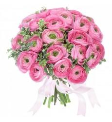 Букет из 29 розовых ранункулюсов «Кружевной веер»