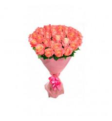 Букет из 43 роз кораллового цвета  «Берег любви»
