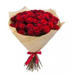 Букет из 43 роз красного цвета  «Алое пламя любви »