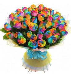 Букет из 43 радужных роз  «Радужная мелодия »