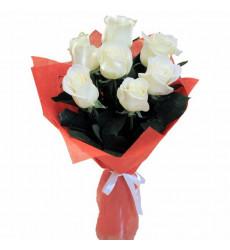 Букет из 7 белых роз  «Вуаль »