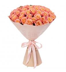 Букет из 71 персиковой розы  «Ароматные пряности »
