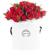 Цветы в шляпной коробке с 75 красными тюльпанами «Весенний шёпот»
