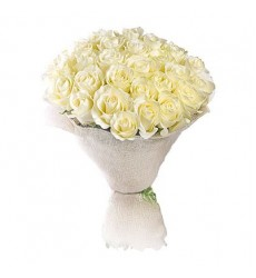 Букет  из 25 белых роз «Сахарная глазурь»