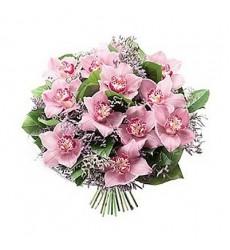 Букет из 15 розовых орхидей «Связь души»