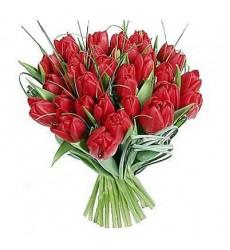 Букет из 29 красных тюльпанов «Амстердам»
