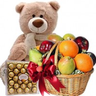 Подарочный набор мишка, фруктовая корзина и конфеты Ferrero Rocher «Сюрприз для богини»