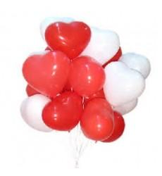 Воздушные шары в виде красных и белых сердцец «Парящие чувства»