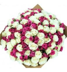 Букет из 75 белых роз и 40 кустовых розовых роз  «Колыбельная»