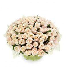 Букет из 101 кремовой розы «Кремовое облако»