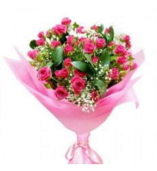 Букет  из 11 кустовых роз «Влюбленные сердца»