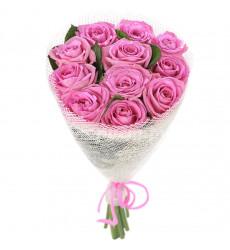 Букет  из 12 розовых роз  «Аромат наслаждения»