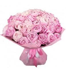 Букет из 51 розового пиона «Романтический вояж»