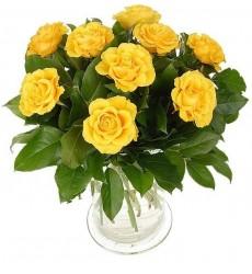 Букет из 9 жёлтых роз и зелени «Золотой сад»