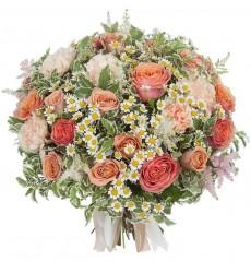 Букет  из 25 роз и 9 гвоздик Капучино «Аромат капучино»