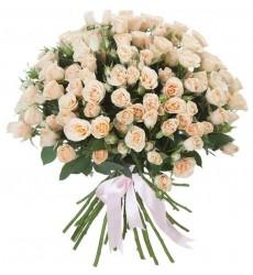 Букет из 101 кремовой розы «Персиковые мечты»