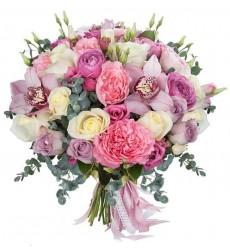 Букет невесты из 3 орхидей, 5 эустом и 29 роз «Безнадёжный романтик»