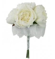 Букет невесты из 5 белых пионов «Цветочная фата»
