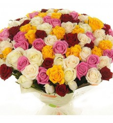 Букет из 101 разноцветной розы «Мечтательный ангел»