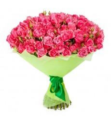 Букет из 35 кустовых розовых роз «Гренада»