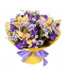 Букет из 3 орхидей, 3 ромашек и 9 ирисов «Дивная сказка»