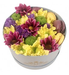 Цветы в коробке с кустовыми хризантемами и 4 макарони «Сальвадор Дали»