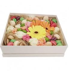 Цветы в коробке с герберами, гвоздиками, хризантемами и 24 макарони «Женевьева»