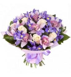 Букет из 9 орхидей, 11 ирисов и 9 роз «Вечерний пейзаж»