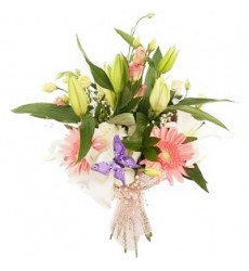 Букет из 3 гербер, 3 роз, 3 лизиантусов и лилии «Момент нежности»