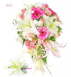 Букет невесты из лилий, гербер, альстромерий и кустовых роз «Любовный дуэт»