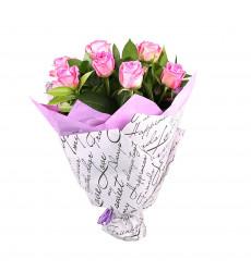 Букет из 9 розовых роз  «Незабываемая любовь»