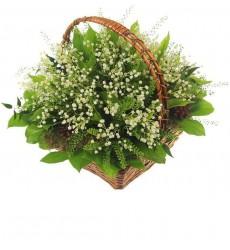 Корзина цветов со 101 ландышем, шишками и мхом «Весенний лес»
