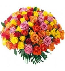 Букет из 101 разноцветной розы «Безудержная страсть»