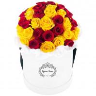 Цветы в шляпной коробке с 35 красными и жёлтыми розами «Улыбка Джоконды»