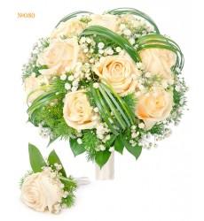 Букет невесты из 11 роз Талея, гипсофилы и зелени «Свадебная увертюра»
