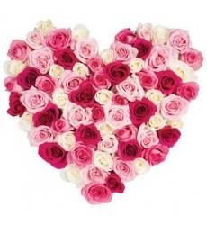 Цветочная композиция из 75 роз «Моя половинка»