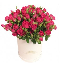 Цветы в коробке с 15 розовыми кустовыми розами «Женственная красота»